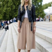 Black Leather Jacket and Culottes