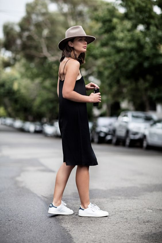 Black Slip Dress and Sneakers