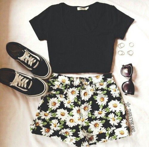 Black Tee and Floral Shorts