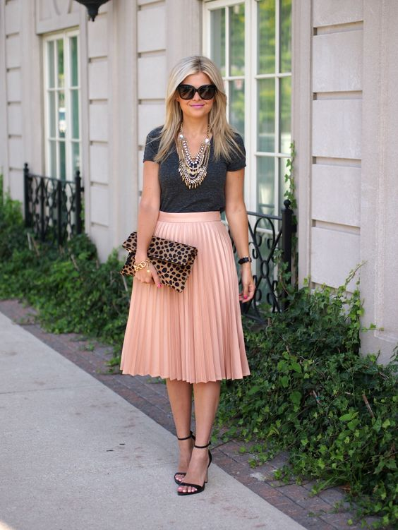 Black Tee and Nude Skirt