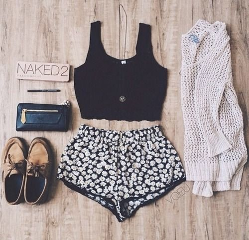 Black Top and Black Floral Shorts