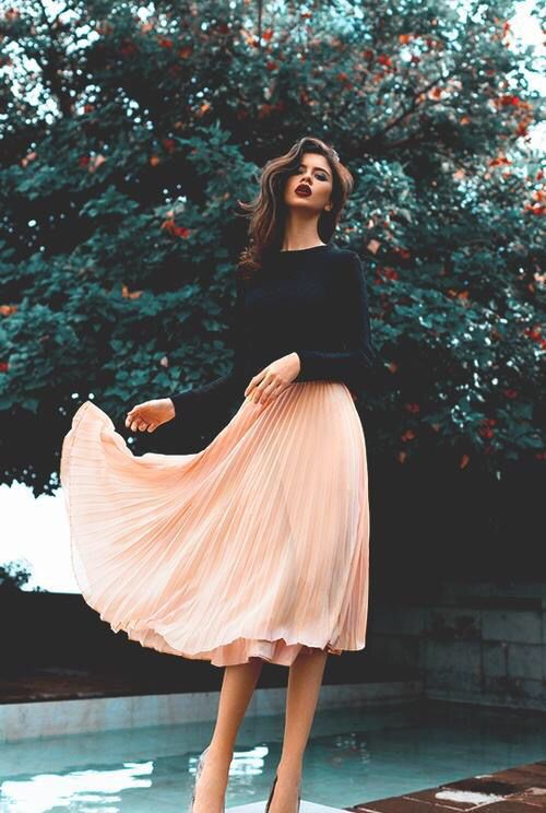 Black Top and Nude Skirt