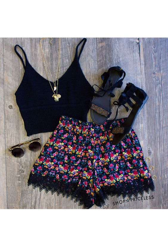 Black Top and Pom Pom Shorts