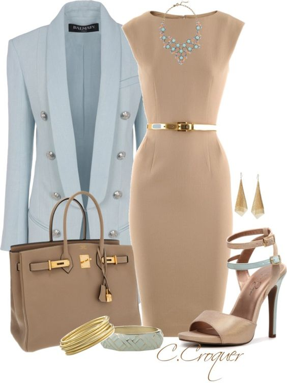 Blue Blazer and Nude Dress