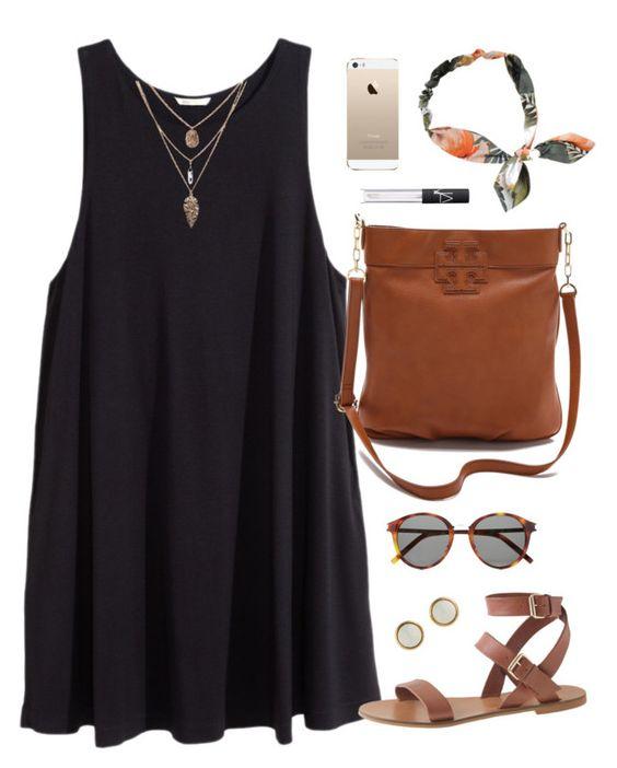 Brown Bag and Black Dress