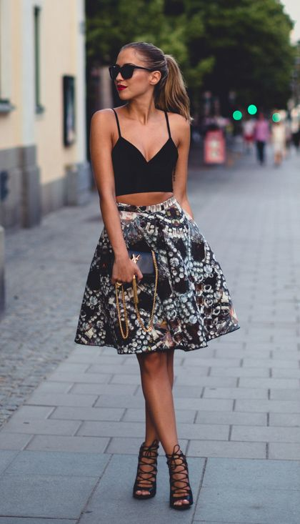 Crop Top, Skirt and Cage Shoes