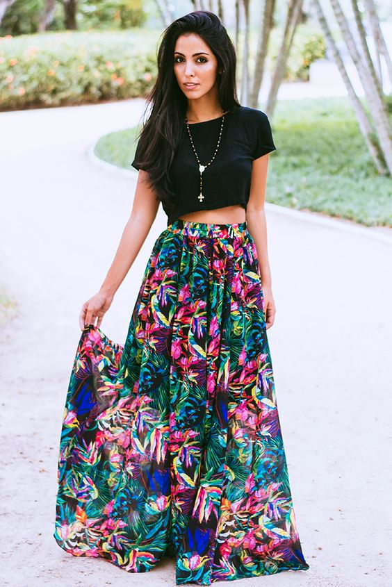 Model Bohemian Long Skirt Amp Crop Tops Set Women Strapless Spit Pencil Skirts