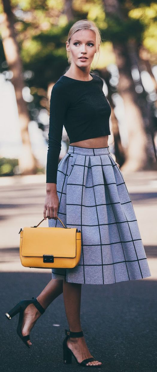 Crop Top and Plaid Skirt