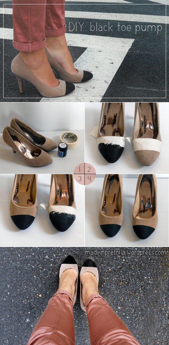 DIY Black Toe Pumps