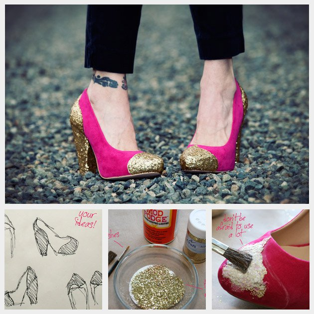 DIY Glitter Toe Heels