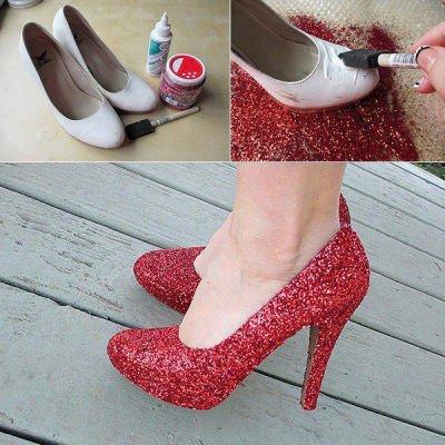 DIY Red Sequined Heels