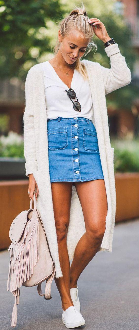 Denim Skirt and White Top