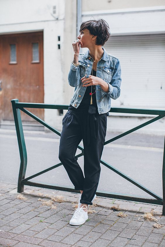 Denim Top and White Shoes
