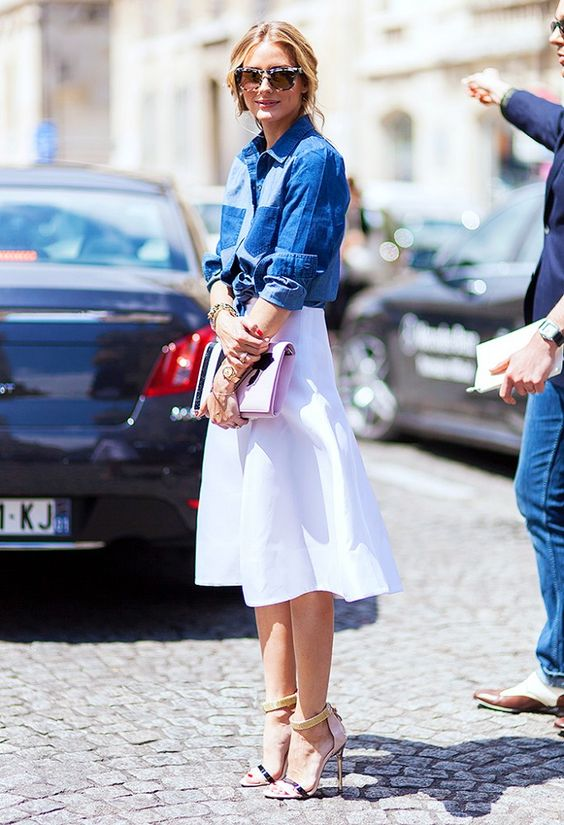 Denim Top and White Skirt