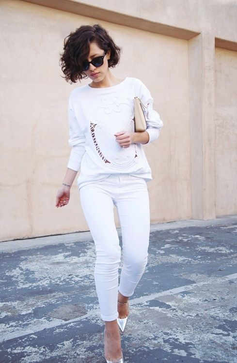 Embellished White Sweater and White Skinnies