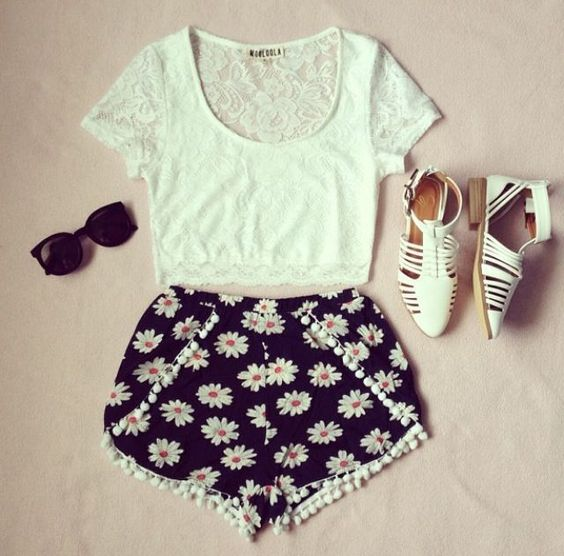 Floral Shorts and Cut out Shoes