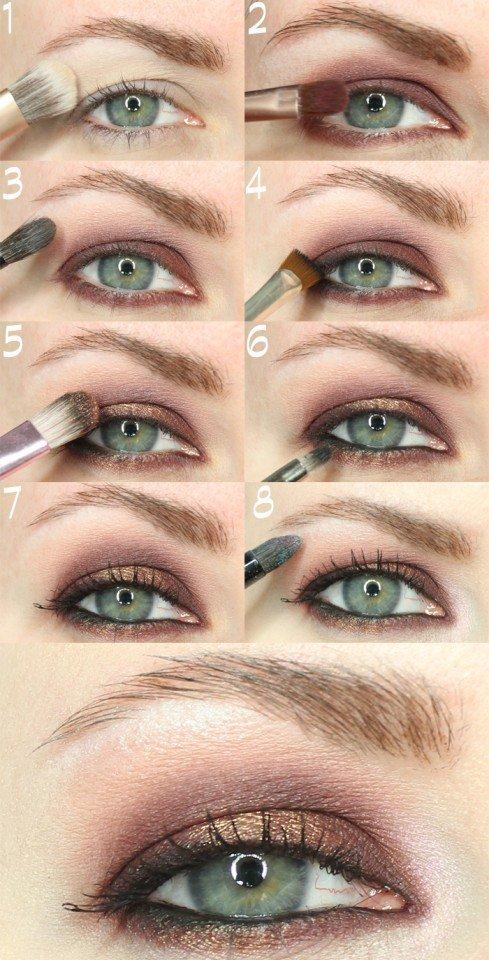Golden and Brown Eye Makeup Idea