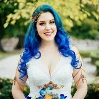 Green Blue Wavy Hair