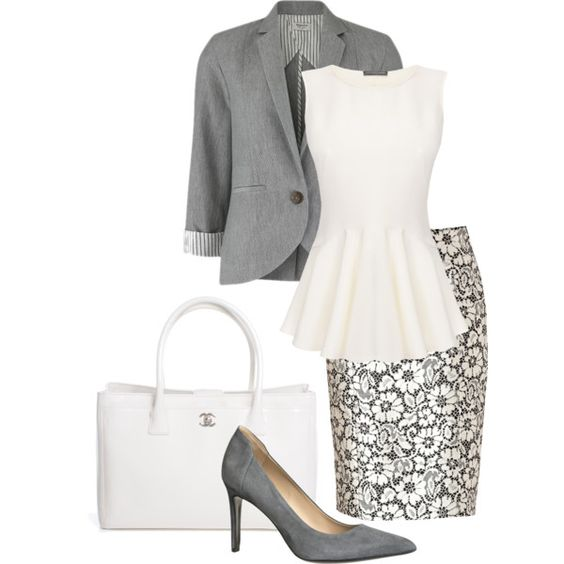 Grey Blazer and Print Skirt