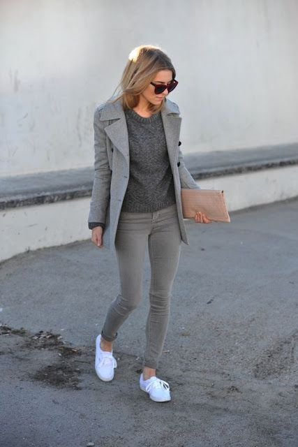 Grey Outfit and White Sneakers