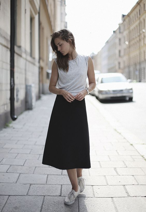 Grey Top and Black Skirt
