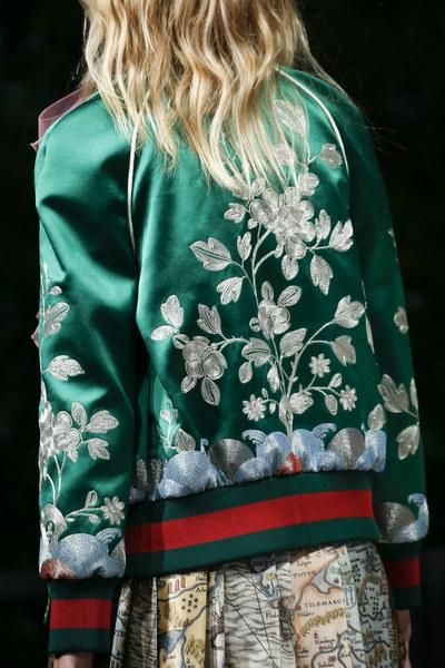 Gucci Spring 2016 Silk Bomber Jacket