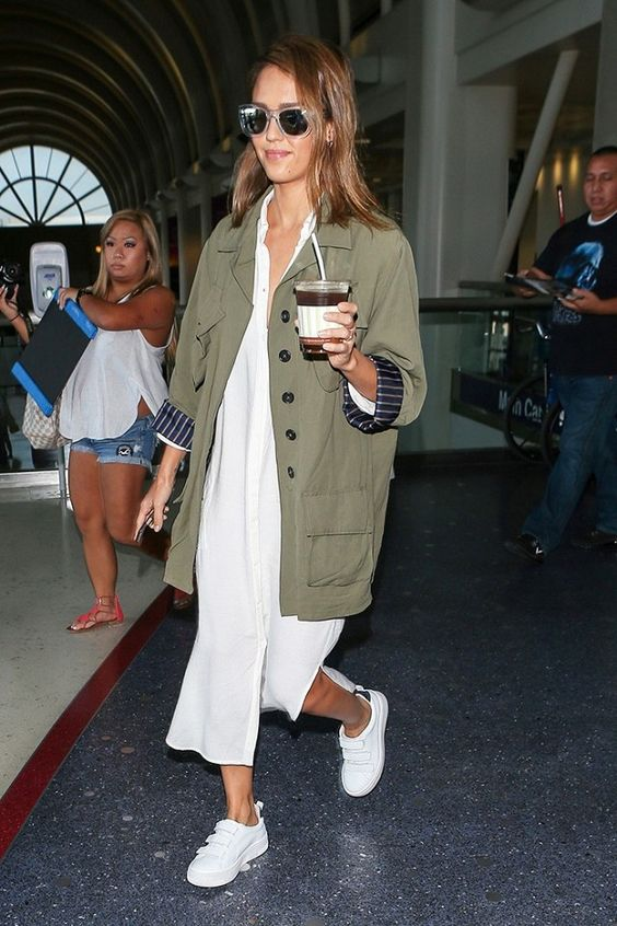 Jessica Alba White Dress and White Sneakers