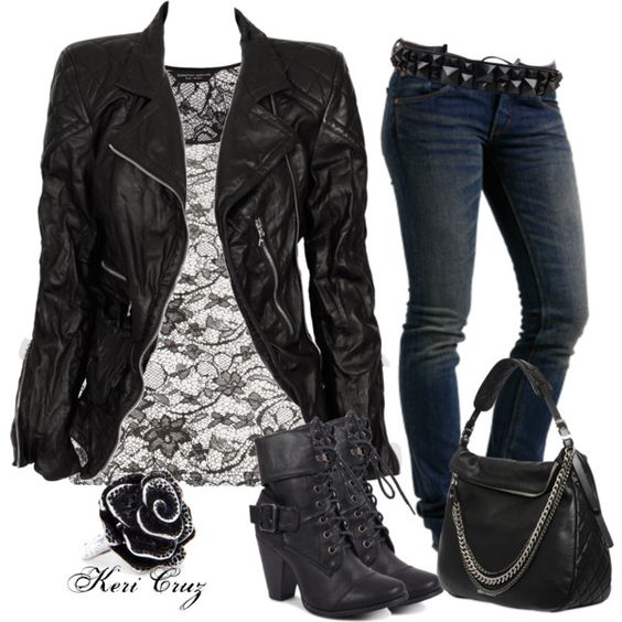 Lace Top and Black Jacket