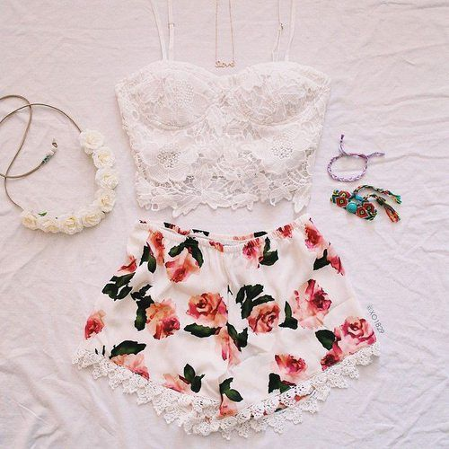 Lace Top and Floral Shorts