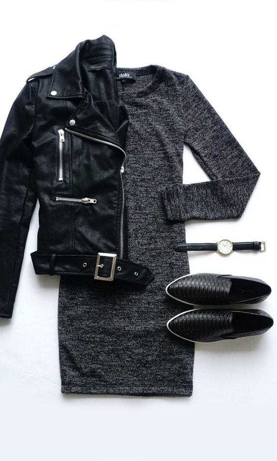 Leather Jacket, Black and Ivory Dress