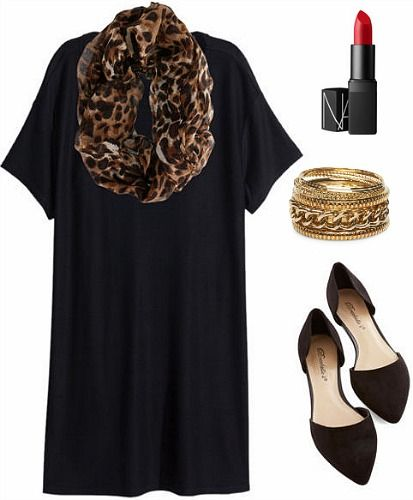 Leopard Scarf and Black Dress