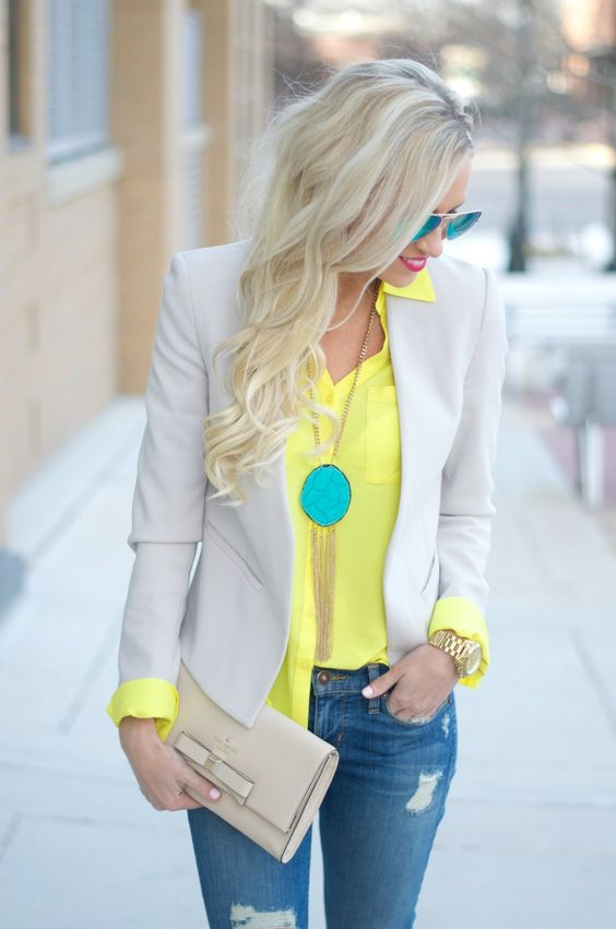 Light Blazer and Yellow Blouse