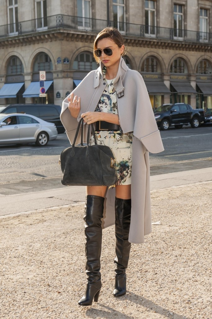 Miranda Kerr Grey Cape Look