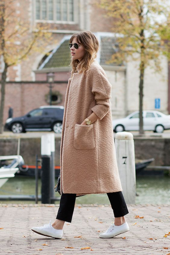 Oversized Coat and White Shoes