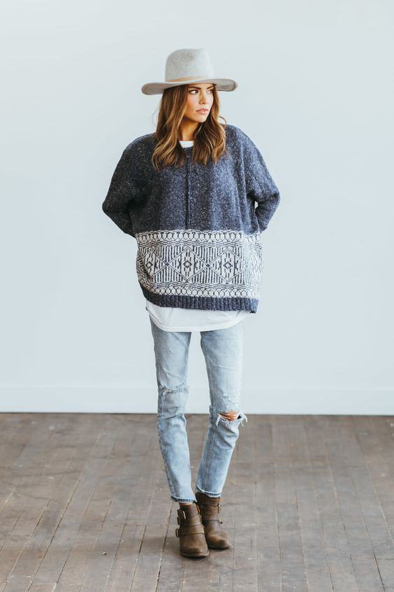 Oversized Sweater and White Tee