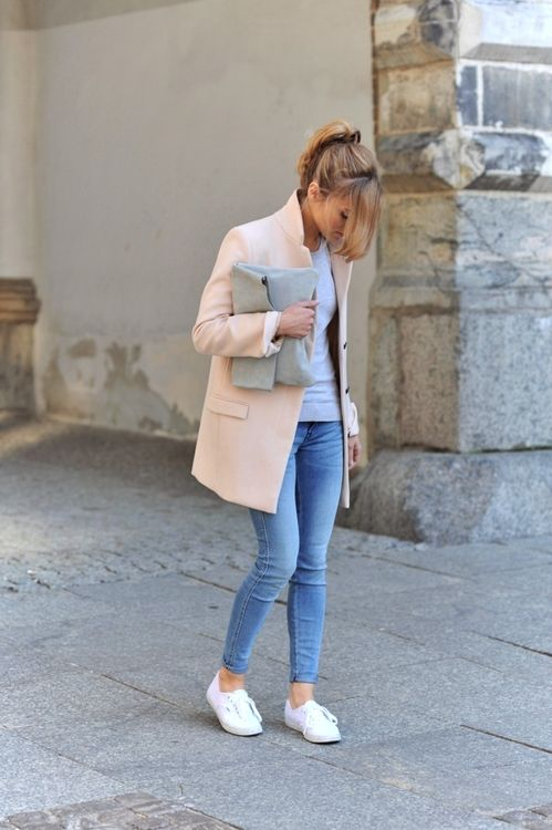 Pastel Coat and White Shoes