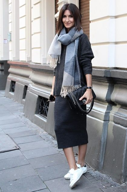Pencil Midi Skirt and White Shoes
