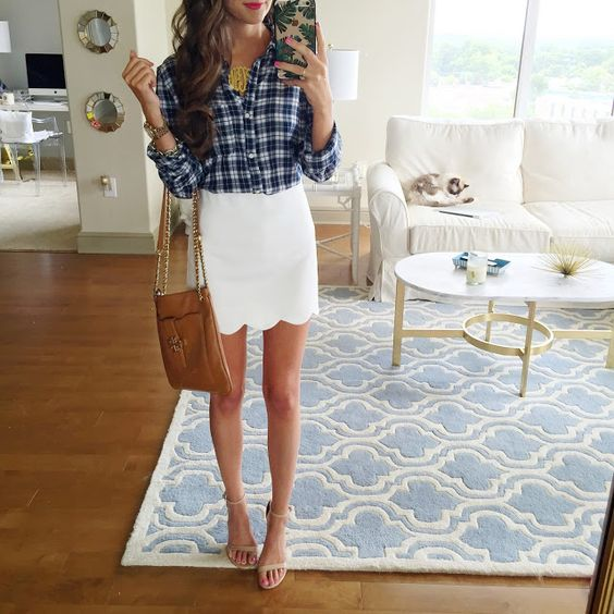 Plaid Top and White Scalloped Skirt