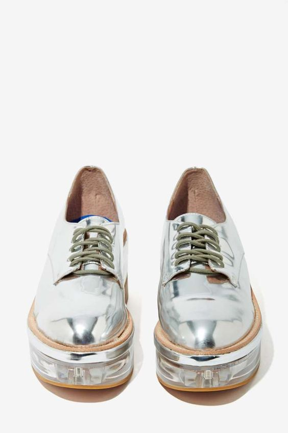 Silver Platform Oxford Shoes