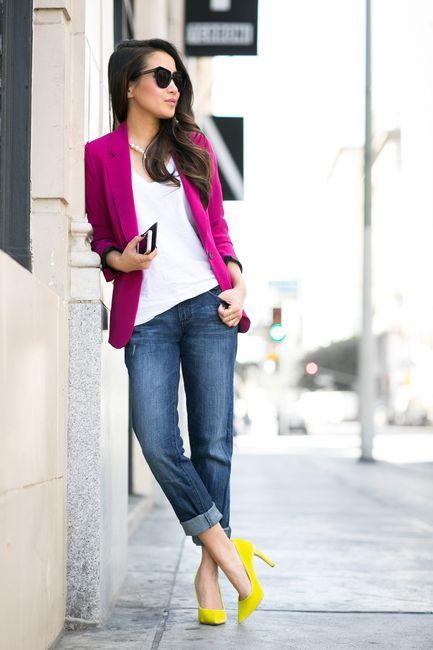 Purple Blazer and Jeans