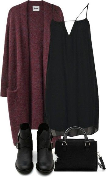 Red Cardigan and Black Dress