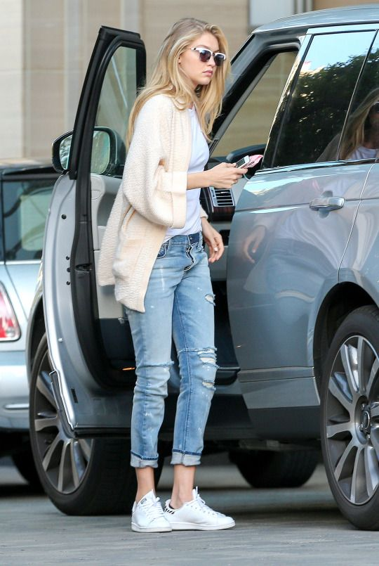 Ripped Jeans and White Shoes