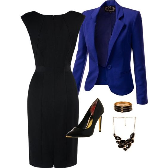 Royal Blue Blazer and Black Dress