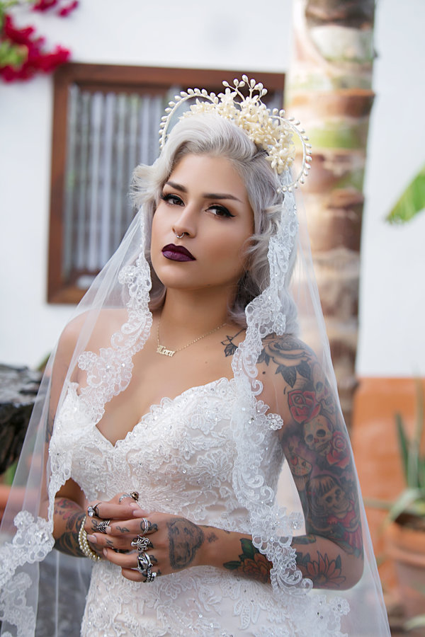 Silver Grey Wedding Hairstyle