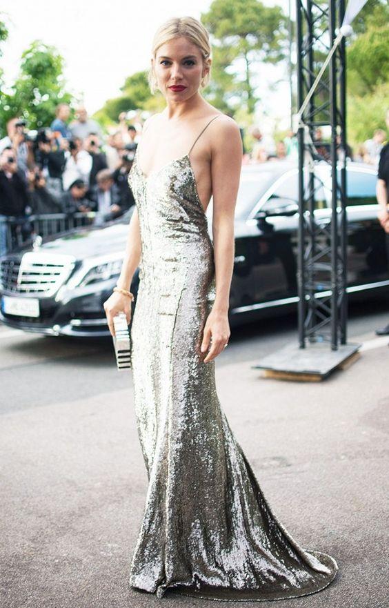 Silver Sequin Slip Dress