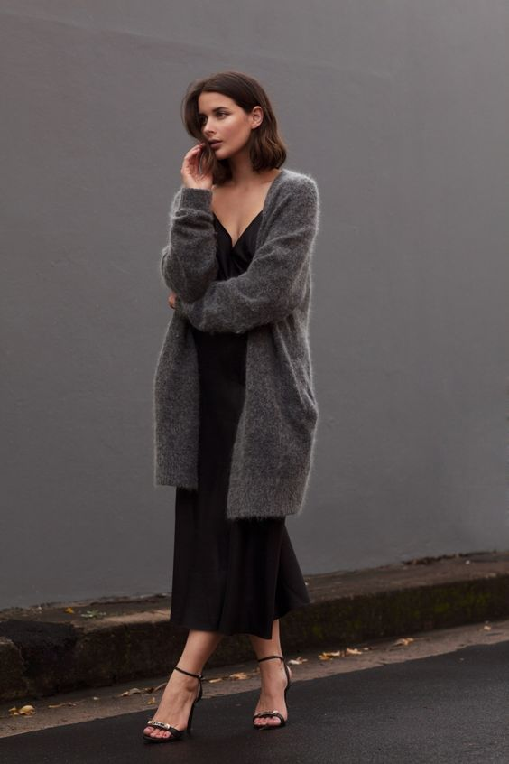 Slip Dress and Knit Sweater