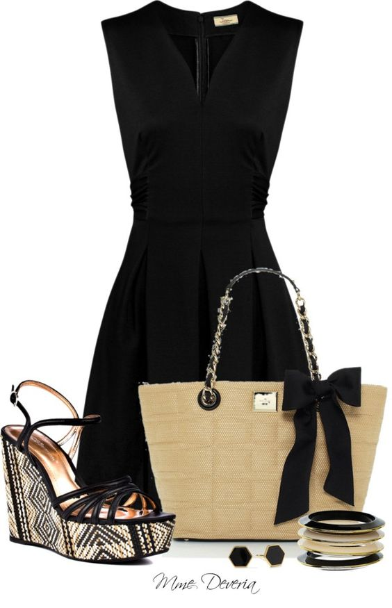 Strappy Sandals and Black Dress