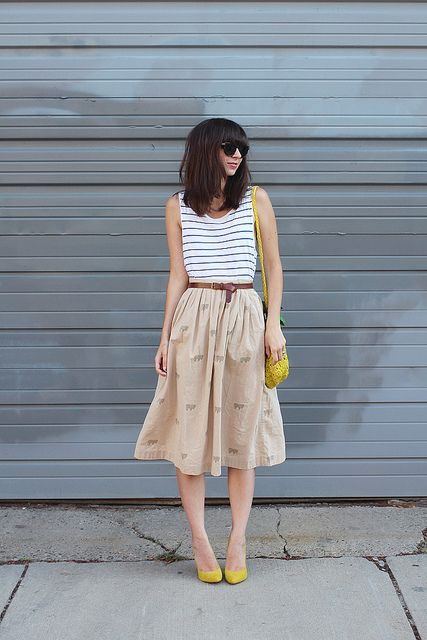 Strip Tank and Midi Skirt