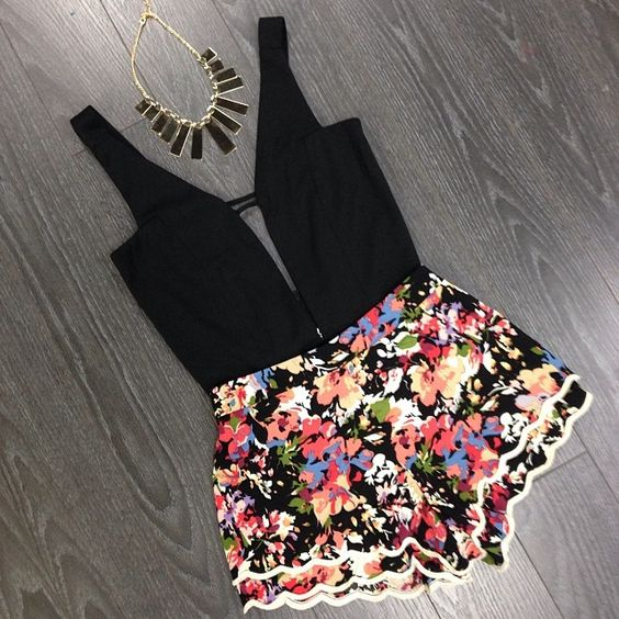 Summer Black Top and Floral Shorts
