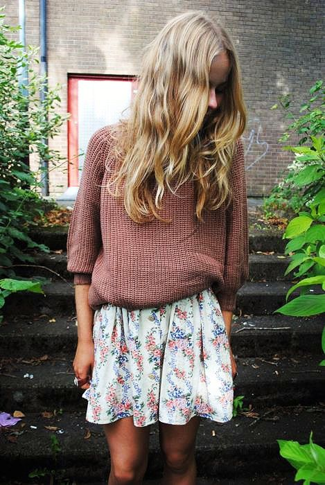 Sweater and Floral Skirt